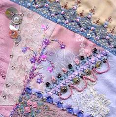 I ❤ crazy quilting  ribbon embroidery . . . 8 inch pink crazy quilt block ~By SharonB of Pintangle