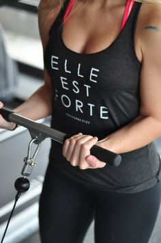 The original: Elle est forte {She is Strong} Proverbs 31 Womens Tank Top *Please allow up to 1 week for processing* oz. Lulu Lemon, Workout Attire, Workout Wear, Sport Fashion, Fitness Fashion, Fitness Tips, Fitness Motivation, Fitness Style, Gym Fitness