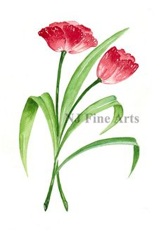 *** This is listing is for a Digital Downloadable/Printable image file. No physical product will be sent to you.***  Red Tulips is my watercolour painting from my flower painting collection painted in the early 90s.  You will receive a JPG image file of my original painting which you can download and print anywhere/any time that you like. The image will have no watermark and no frame on it. The frame in sample image is for illustration purpose only.  You can edit/crop/pri...