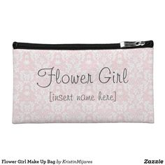 Shop Flower Girl Make Up Bag created by KristinMijares. Flower Girl Gifts, Make Up, Make It Yourself, Personalized Wedding Gifts, On Your Wedding Day, Maid Of Honor, Little Girls, Great Gifts, Pouch