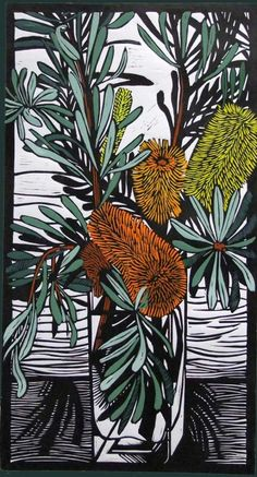 "Gail Kellett - ""Banksia Marginata"" - Linocut 3 of my favorite things: still lives, print making, Australian flowers. Art And Illustration, Illustrations, Linocut Prints, Art Prints, Block Prints, Gravure Photo, Art Graphique, Australian Artists, Woodblock Print"