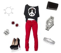 red pants peace top