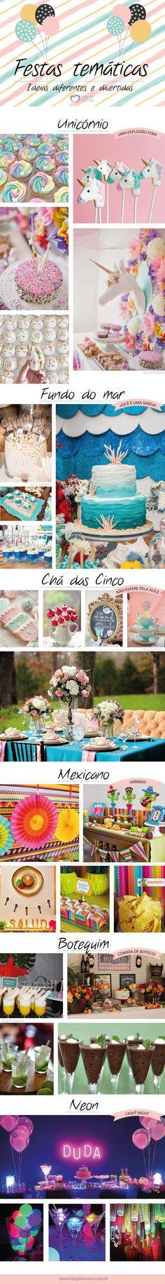 Festas temáticas: ideias diferentes e divertidas - Blog da Mimis #infográfico #blogdamimis #decoração #decor #festa
