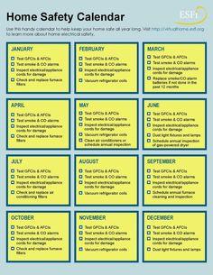 electrical home safety calendar home maintenance Home Electrical Safety Checklist Home Safety Checklist, Home Safety Tips, Home Maintenance Checklist, Home Security Tips, Safety And Security, Electrical Inspection, Electrical Safety, Home Management Binder, Property Management