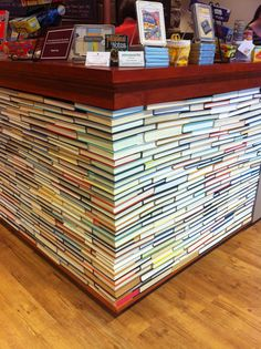 How fabulous is this checkout counter at Newtonville Books in Newton, MA.  Inspired by a store in Australia, Designed and built by SteveWorks.
