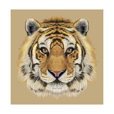 Illustrative Portrait of a Tiger. Beautiful Face of Big Cat. Reprodukcje autor…