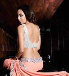 Coral Crystal Saree — Karishma Kimatrai — Cocktail Sarees | Indianhanger.com #bridesmaids