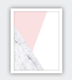 a b s t r a c t 0 0 2 - Abstract printable art in pink gray and marble, marble decor, abstract art, Geometric Wall Print, Triangle Prints, by ENIGMALUXE on Etsy