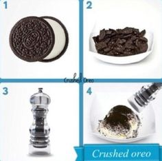 What a great idea. Use a pepper crusher to crush Oreos for ice creams and other desserts.