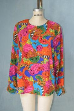 80s Funky MARTINIQUE MULTICOLOR GRAPHIC TOP- style.ly $49