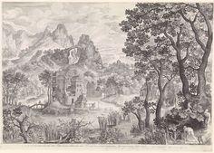 Nicolaes de Bruyn   Landschap met eendenjacht, Nicolaes de Bruyn, 1600   Berglandschap met een kasteel. Op de rechtervoorgrond twee mannen die jagen op watervogels.