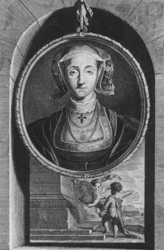 """Engraving of  Anne of Cleves, fourth wife of Henry VIII, by Vermuelen, printer and engraver, who worked in Antwerp from 1644-1708. He transposed paintings into engravings for the public audience.  His  """"portraits"""" of members of the Henrician and Elizabethan courts bear little if any resemblance to the portraits painted from life over two centuries earlier. This portrait, a distortion of the Holbein, shows a worn, haggard face in line with the cruel myth that Henry rejected her for her looks."""