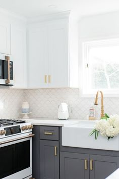 My White & Gold Kitchen with Cafe Appliances Check out my white and gold cozy coastal kitchen and my Kitchen Cabinet Design, Kitchen Redo, Home Decor Kitchen, Kitchen Interior, New Kitchen, Kitchen Remodel, Updated Kitchen, Cozy Kitchen, Kitchen Storage