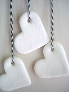 hearts made from air dry clay. I love the simplicity and clean line of the white clay.