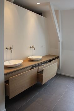 Bad Bathroom By Joost Tromp Baden Baden Interior - may also work with IKEA kitchen cupboards . Bathroom Toilets, Laundry In Bathroom, Bathroom Renos, Bathroom Furniture, Bathroom Interior, Bathroom Storage, Modern Bathroom, Design Bathroom, Ikea Interior