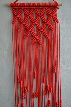 Macrame Wall Hanging. (Red) 32.3 inches / 9.8 inches Mrco...