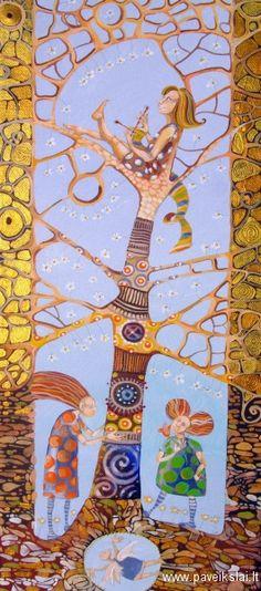 """Painting by Vaida Blistrubienė: """"Knitting The Spring""""."""