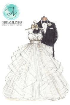 Personalized sketch of her wedding day. A gift to take her breath away. Her wedding dress sketched and framed. #weddingdresssketch #dreamlinesweddingdresssketch #dreamlinessketch #anniversarygift #weddinggift #bridegift #bridalshowergift Romantic Gifts For Wife, Best Gift For Wife, Birthday Gifts For Girlfriend, Wedding Shower Gifts, Wedding Gifts, Wedding Ideas, Handmade Wedding, Personalized Wedding, Wedding Dress Sketches