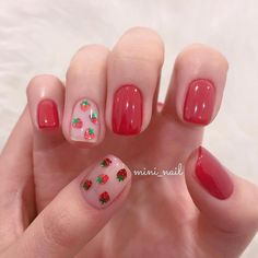 Image about red in nail art 💕 by J O A N A on We Heart It Shared by J O A N A. Find images and videos about red, strawberry and nail art on We Heart It - the app to get lost in what you love. Cute Nail Art, Cute Nails, Pretty Nails, Nail Art Designs, Short Nail Designs, Korean Nail Art, Korean Nails, Strawberry Nail Art, Strawberry Drawing