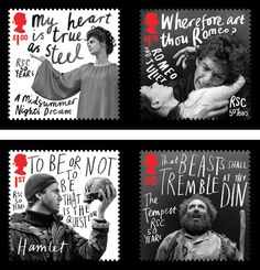 Wonderful set of stamps designed by hat-trick for the Royal Mail, commemorating the Royal Shakespeare Company's 50th anniversary
