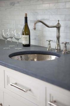 bar area grey concrete honed counter tops carerra subway backsplash white cabinets