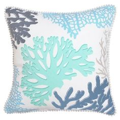 Oasis Cushion - Coral Sea 45cm X 45cm ($37) ❤ liked on Polyvore featuring home, home decor, throw pillows, cushions, white toss pillows, patterned throw pillows, white accent pillows, white home decor and white throw pillows