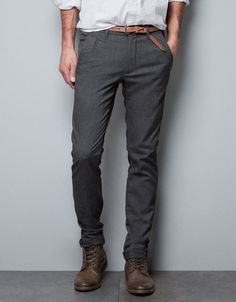 fitted grey chinos