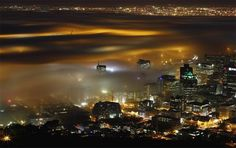 Fog over Cape Town, South Africa from the air