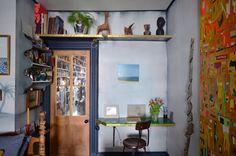Shelf above door. Glow in the dark ceiling. Name: Matt Austin, of Matt Austin Studio Location: Bushwick, Brooklyn, New York