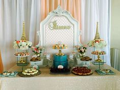 Dessert table at a Paris birthday party! See more party ideas at CatchMyParty.com!