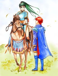 Eliwood and Lyndis...and her horse. http://elibian.tumblr.com/post/30680815780