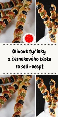 Olivové tyčinky z česnekového těsta se solí recept Cereal, Vegetables, Breakfast, Recipes, Food, Party, New Years Eve, Morning Coffee, Essen