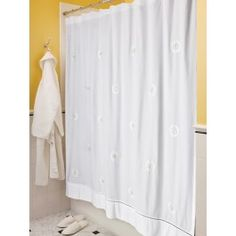 Embroidered Cotton Shower Curtain #fbeewreathembroidery #ivory #embroideredlinens