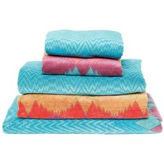 Missoni Home Tamara Set Of 5 Cotton Velour Towels ($220) ❤ liked on Polyvore featuring home, bed & bath, bath, bath towels, cotton hand towels, missoni, cotton guest towels, velour hand towels and missoni hand towels