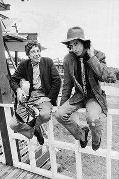 Dave Gahr     Leonard Cohen and Arlo Guthrie, Newport Folk Festival, Newport, Rhode island     1967
