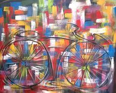 Pintado a mão quadro bike 80x100 cod 698
