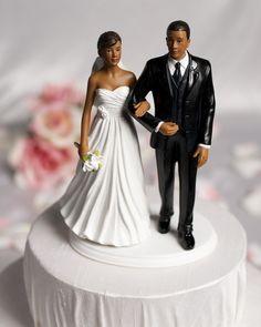 African American Bride and African merican Groom Cake Topper