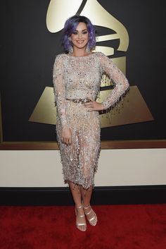 Katy Perry, in Zuhair Murad Haute Couture, with Lorraine Schwartz and Harry Kotlar jewels and Sophia Webster shoes. The 2015 Grammy Awards - Gallery - Style.com