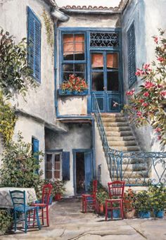 """Courtyard Garden"" by William Mangum Graffiti Kunst, Beautiful Paintings, Landscape Art, Pretty Pictures, Painting Inspiration, Watercolor Paintings, Watercolor Artists, Facade, Beautiful Places"