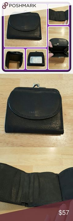 ❤ NWOT Genuine Leather Fossil Wallet ❤ Brand New Fossil Wallet Black Genuine Leather. This Super Cute Wallet Can Hold Cards, Cash, Coins And ID Slot Is On The Back. Excellent Condition Never Used  PAYPAL  TRADES  OFFERS PRICED LOW TO SELL ❤ Fossil Bags Wallets