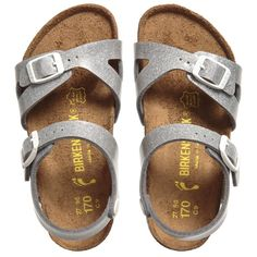 Birkenstock - Girls Glittery Silver 'Rio' Sandals | Childrensalon