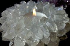 Design-Teelicht  Sonne  aus Edelstein wahlweise: Amethyst oder Bergkristall
