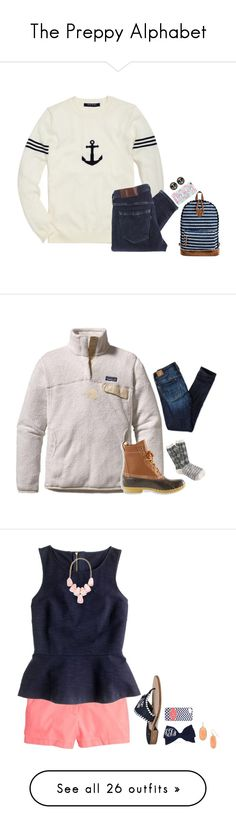 """""""The Preppy Alphabet"""" by harpgirl913 ❤ liked on Polyvore featuring Brooks Brothers, Levi's Made & Crafted, Mossimo Supply Co., Patagonia, L.L.Bean, American Eagle Outfitters, J.Crew, Kendra Scott, Jack Rogers and H&M"""