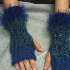 My first pair of Wrist Warmers made on the Knifty Knitter Loom.