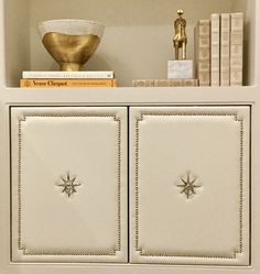 Leather upholstered cabinet doors for our clients home office Home Upgrades, Door Design, Cabinet Doors, Room Inspiration, Bookshelves, Condo, Interiors, Spaces, Interior Design
