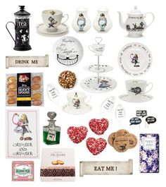 """Tea party. Alice in Wonderland"" by emily-fey ❤ liked on Polyvore featuring interior, interiors, interior design, home, home decor, interior decorating, Disney, Mrs Moore's Vintage Store, Eleanor Stuart and Kusmi Tea"