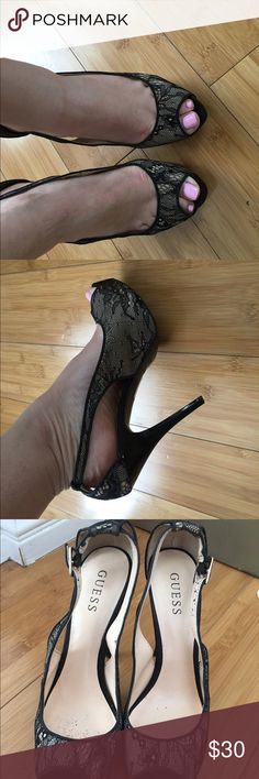 Guess black heels Peep toe heels in black. They have been worn a few times. Sexy heels! Lace and black heels. Size 8.5. Guess shoes Guess Shoes Heels