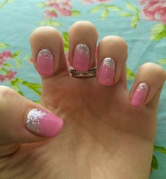 Bio sculpture gel, pink with silver glitter scatter