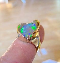 Beautiful Lightning Ridge Crystal opal ring by Glenn Dizon. Just finished and…