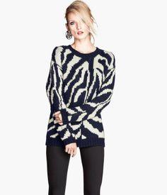 H&M US Zebra Pattern Knit Sweater